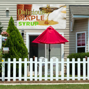 Vinyl Banner Sign Delicious Maple Syrup Outdoor Marketing Advertising White