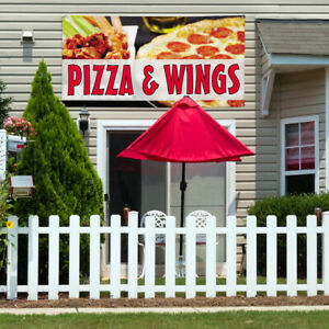 Vinyl Banner Sign Pizza Wings 3 Restaurant Food Marketing Advertising Red