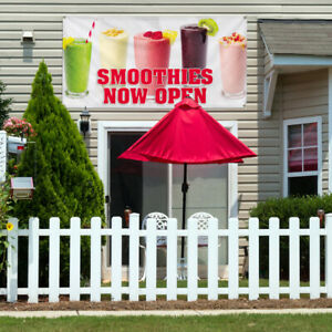 Vinyl Banner Sign Smoothies Now Open Outdoor Marketing Advertising Pink