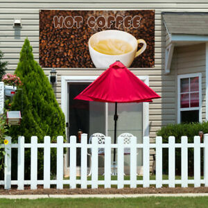 Vinyl Banner Sign Hot Coffee 1 Style A Outdoor Marketing Advertising Brown