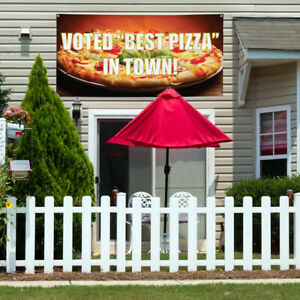 Vinyl Banner Sign Voted Best Pizza In Town Outdoor Marketing Advertising Red