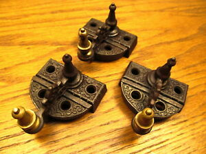 3 Old Brass Bronze Steeple Top Window Sash Locks Latches Ornate