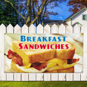 Vinyl Banner Sign Breakfast Sandwiches 2 Outdoor Marketing Advertising Brown