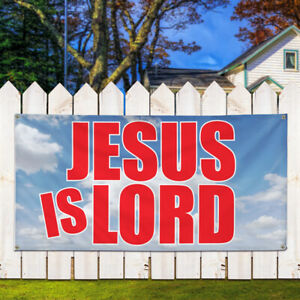 Vinyl Banner Sign Jesus Is Lord Business Outdoor Marketing Advertising Blue