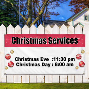 Vinyl Banner Sign Christmas Services Hours And Dates Marketing Advertising