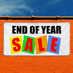 Vinyl Banner Sign End Of Year Sale Business Outdoor Marketing Advertising White