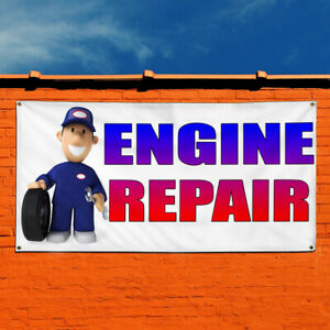 Vinyl Banner Sign Engine Repair With Human Clipart Marketing Advertising Blue