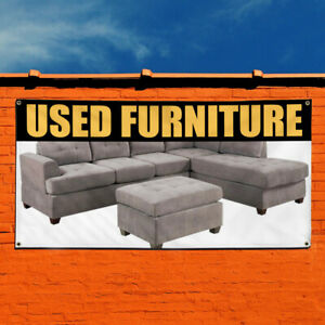 Vinyl Banner Sign Used Furniture Business Outdoor Marketing Advertising White