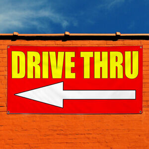 Vinyl Banner Sign Drive Thru With Left Arrow Business Marketing Advertising Red