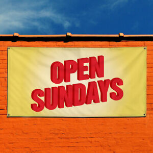 Vinyl Banner Sign Open Sundays 1 Business Outdoor Marketing Advertising Yellow