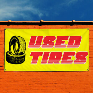 Vinyl Banner Sign Used Tires 1 Style H Outdoor Marketing Advertising Yellow