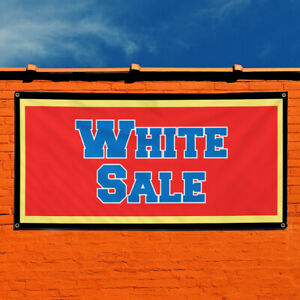 Vinyl Banner Sign White Sale Business White Sale Sign Marketing Advertising Red