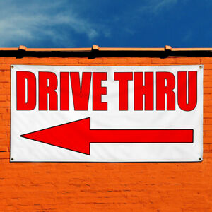 Vinyl Banner Sign Drive Thru With Left Arrow Style S Marketing Advertising Red