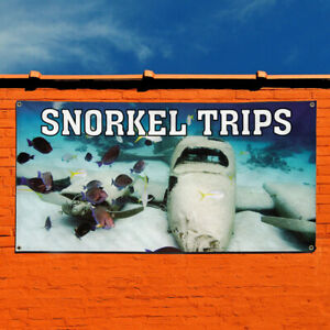 Vinyl Banner Sign Snorkel Trips Business Outdoor Marketing Advertising Brown