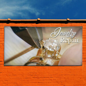 Vinyl Banner Sign Jewelry Repair 1 Style A Marketing Advertising Yellow