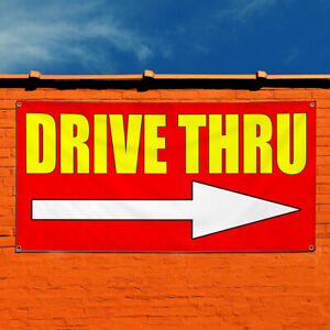 Vinyl Banner Sign Drive Thru With Right Arrow Outdoor Marketing Advertising Red