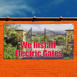 Vinyl Banner Sign We Install Electric Gates Outdoor Marketing Advertising White
