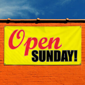 Vinyl Banner Sign Open Sunday 1 Business Outdoor Marketing Advertising Yellow