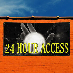 Vinyl Banner Sign 24 Hour Access Business Access Marketing Advertising Black