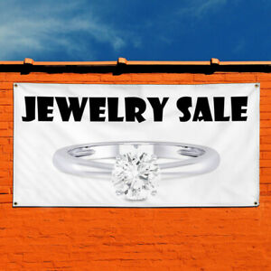 Vinyl Banner Sign Jewelry Sale Business Style C Marketing Advertising White