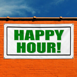 Vinyl Banner Sign Happy Hour Promotion Business Marketing Advertising Green