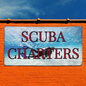Vinyl Banner Sign Scuba Charters Business Outdoor Marketing Advertising White