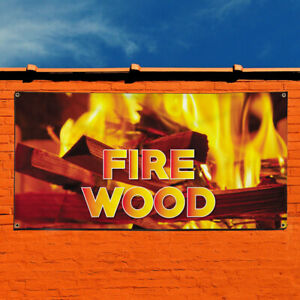 Vinyl Banner Sign Fire Wood 1 Style B Business Marketing Advertising Yellow