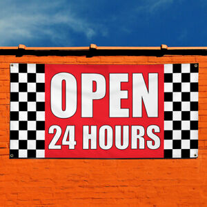 Vinyl Banner Sign Open 24 Hours 1 Business Finance Marketing Advertising Red