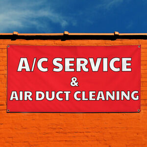 Vinyl Banner Sign A c Service Air Duct Cleaning Marketing Advertising Red