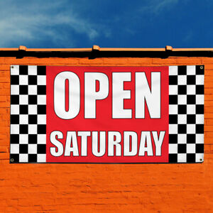 Vinyl Banner Sign Open Saturday 1 Business Outdoor Marketing Advertising Red