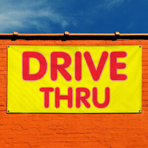 Vinyl Banner Sign Drive Thru 1 Style A Business Marketing Advertising Yellow