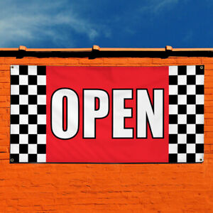 Vinyl Banner Sign Open 1 Business Store Open Outdoor Marketing Advertising Red