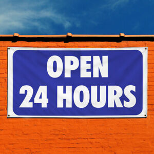 Vinyl Banner Sign Open 24 Hours 1 Style A Business Marketing Advertising Blue
