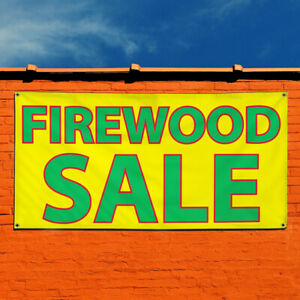 Vinyl Banner Sign Firewood Sale Style A Business Marketing Advertising Yellow