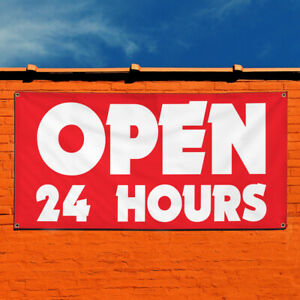 Vinyl Banner Sign Open 24 Hours 1 Style C Business Marketing Advertising Red