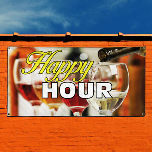 Vinyl Banner Sign Happy Hour 1 Business Outdoor Marketing Advertising Yellow
