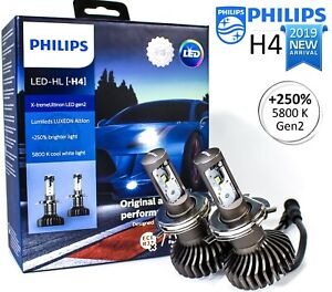 New Philips H4 9003 Led X Treme Ultinon Gen2 Car Headlight Bulbs 6000k 250