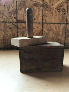 Antique Wood Butter Mold Stamp Folk Art Dairy Milk Cow Bull Dovetailed Primitive