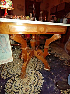 Victorian Walnut Marble Top Center Or Parlor Table Burled Walnut Trim Antique