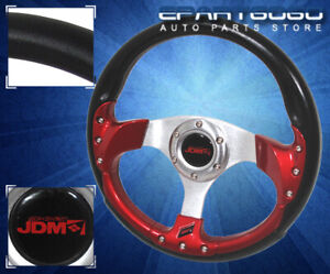 320mm 6 Bolt Jdm Sport Racing Steering Wheel Pvc Leather Black Red For Toyota