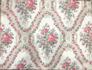 19th Century French Floral Toile Cotton Printed Fabric