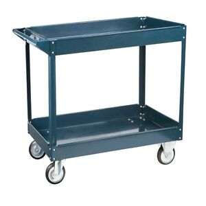Steel Service Utility Push Shop Cart 2 Trays Black