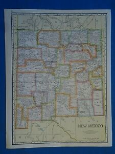 Vintage 1941 New Mexico Map Old Antique Original Atlas Map 20819