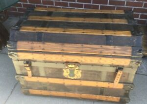 Antique Trunk With Leather And Iron 1870