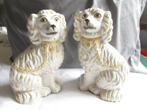 Vintage Pair Of Staffordshire Dogs Figurines Made In Portugal 10 Tall