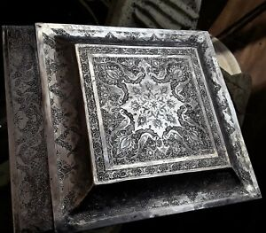 Persian Art Exhibition Fascinating Large Middle Eastern Solid Silver Box