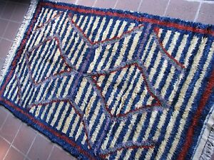 C1990s Vintage Shaggy 5 3 X 8 6 Large Tulu Rug From Turkey Free Shipping