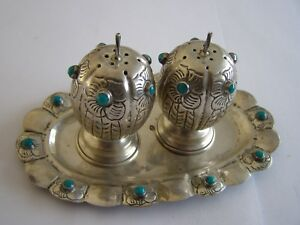 Vintage Mexican Sterling Silver Turquoise Salt And Pepper Shakers W Small Tray