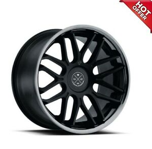 4 set 20 Staggered Wheels And Tires Blaque Diamond Bd 27 Satin Black W Chrome