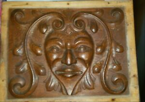 Antique 19th Century Green Man Hand Carved Oak Wood Panel Salvaged